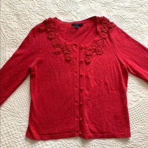 Boden Cashmere blend Flower Cardigan Sweater MED L